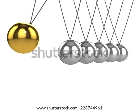 3d render of a Newtons Cradle with swinging gold ball. - stock photo