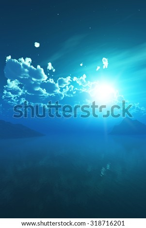3D render of a night sky over a tropical sea