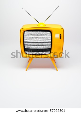 3D render of a old fashioned TV set on white - stock photo