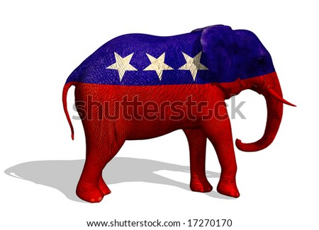 3D render of a painted elephant. The elephant is the symbol for the republican party in the US. - stock photo