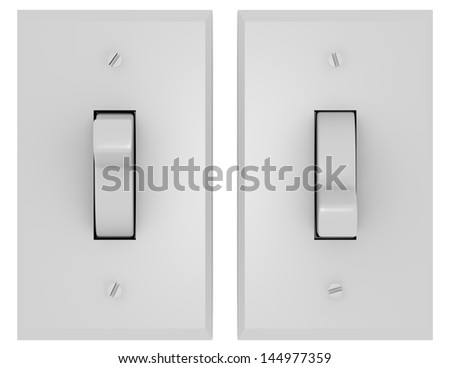3d Render of a Pair of Light Switches - stock photo