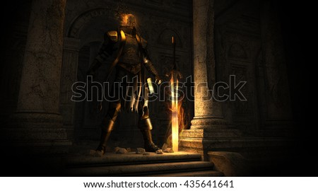 3d render of a Paladin warrior with a flaming sword - stock photo