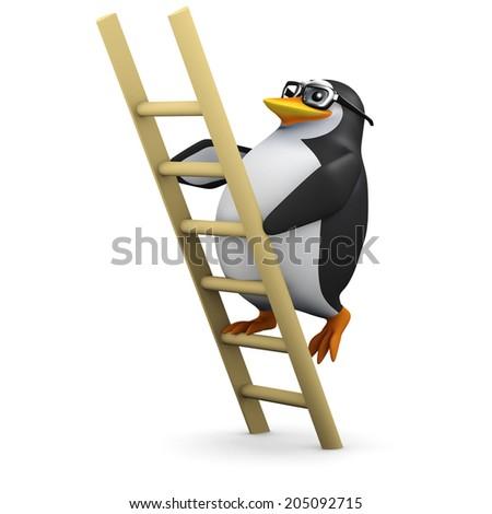 3d render of a penguin climbing a ladder - stock photo