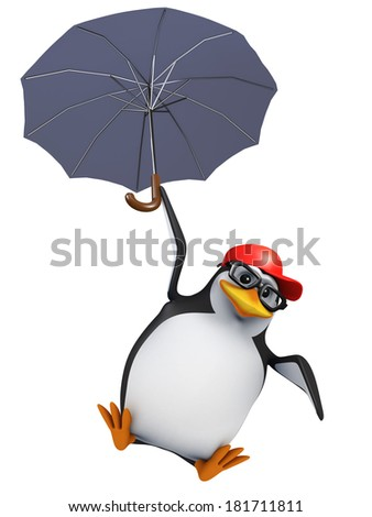 3d render of a penguin flying with an umbrella