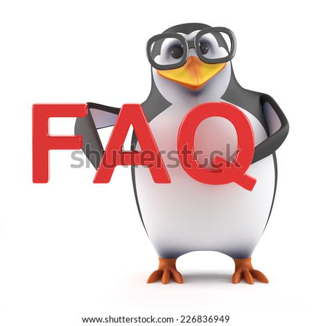 3d render of a penguin holding the acronym FAQ