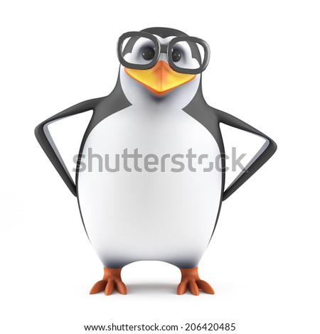 3d render of a penguin standing with his hands on hips