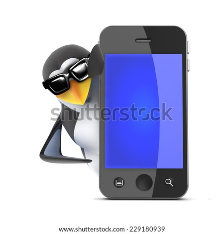 3d render of a penguin stood behind a smartphone.