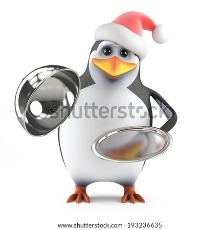 3d render of a penguin wearing a santa hat with silver service tray