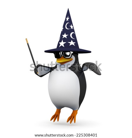 3d render of a penguin wearing a wizards hat and floating above the ground with his magic wand - stock photo
