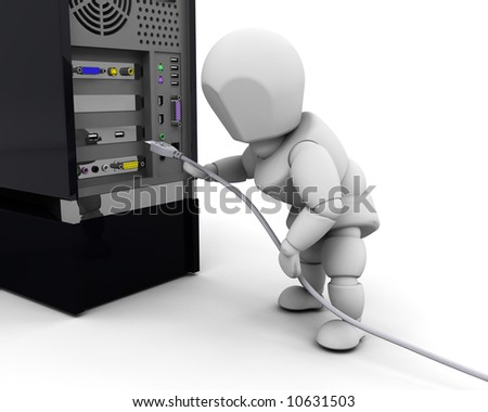 3D render of a person plugging in a computer cable