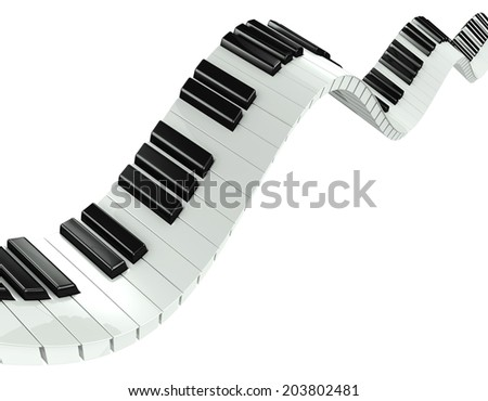 3d render of a piano keyboard in a fluid wavelike movement - stock photo
