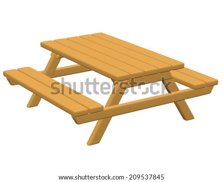 3d Render of a Picnic Table - stock photo
