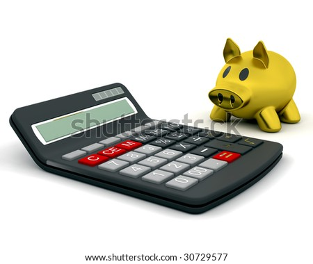 3D render of a piggy bank and calculator - stock photo