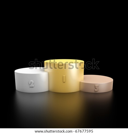 3d render of a podium consisting three cylinders with different heights made from bronze, silver and gold - stock photo