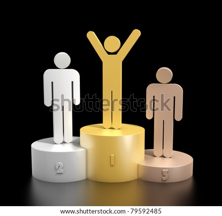 3d render of a podium consisting three cylinders with different heights made from bronze, silver and gold, with three stick men on top, in matching colors, expressing happiness and sadness - stock photo