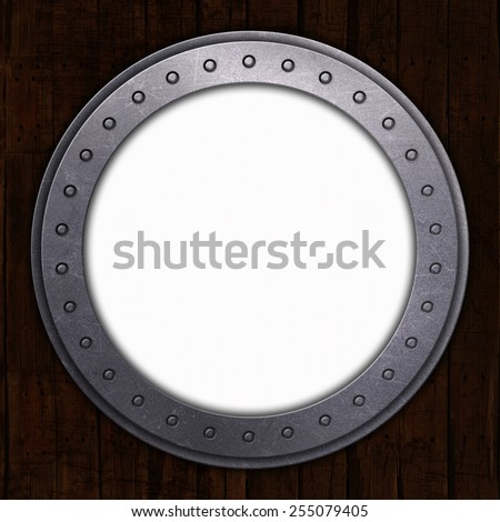 3D render of a port hole with white space - stock photo