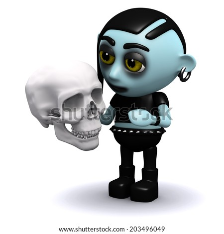 3d render of a punk goth holding a human skull - stock photo