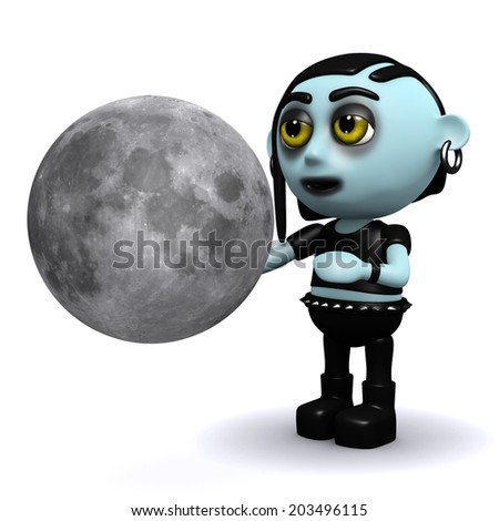 3d render of a punk goth looking at the moon