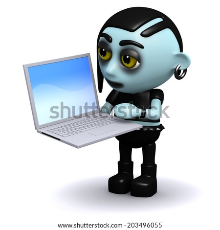 3d render of a punk goth playing with a laptop
