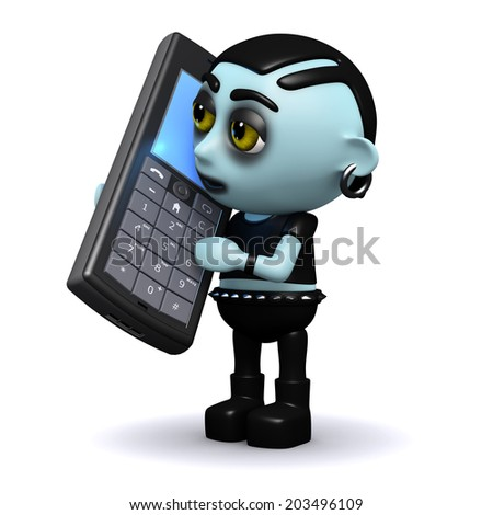 3d render of a punk goth talking on a cellphone