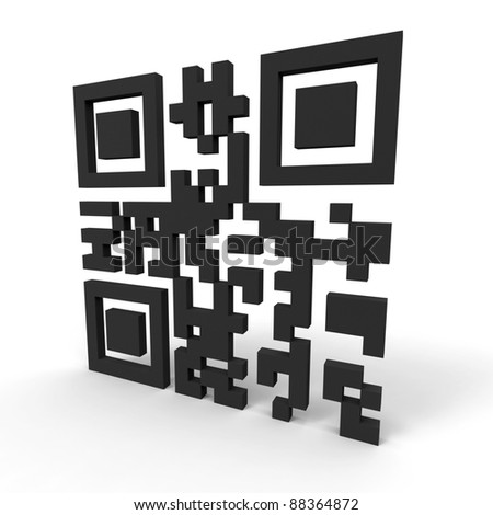 "3d render of a QR-code standing on a white background. Contains the words ""hello world""."