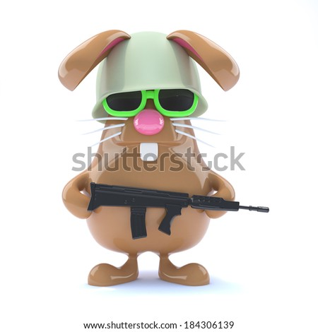 3d render of a rabbit dressed as a soldier - stock photo