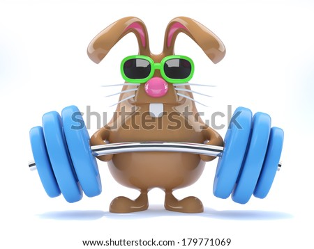3d render of a rabbit lifting weights - stock photo