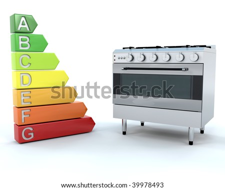 3D Render of a Range Cooker and Energy Ratings