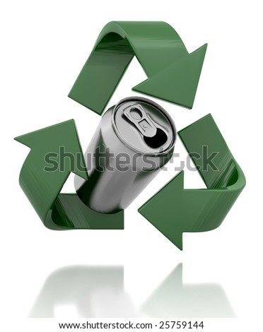 3d render of a recycle symbol and can - stock photo