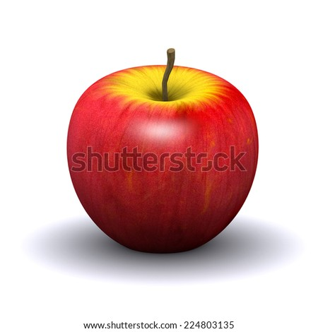 3d render of a red apple