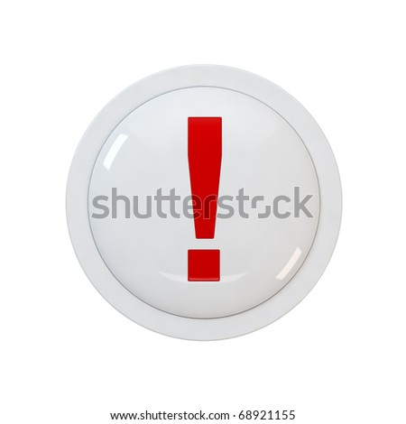 3d render of a red button with a exclamation point