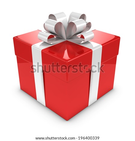 3d render of a red gift box - stock photo