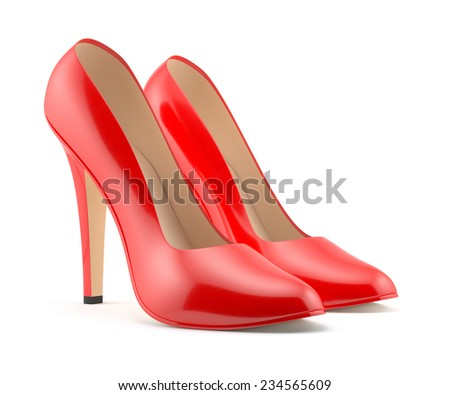 3d render of a red high heels shoe on white background isolated  - stock photo