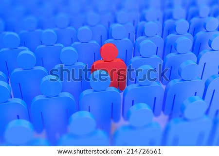3D Render of a red person in a crowd of blue people  - stock photo