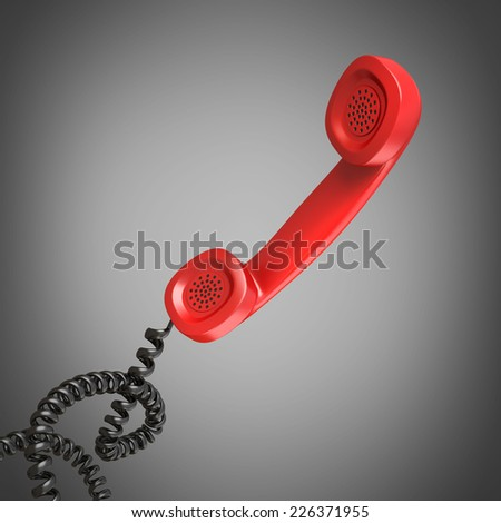 3d render of a red telephone handset High resolution - stock photo