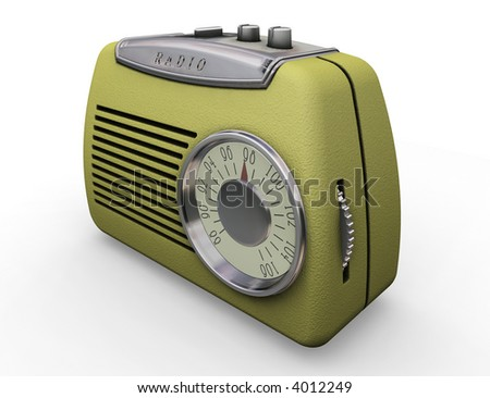 3D render of a retro styled radio