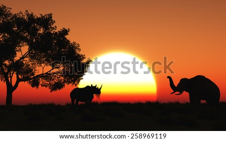 3D render of a rhino and elephant in an African landscape - stock photo