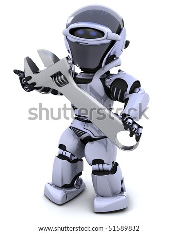 3D render of a robot and adjustable wrench - stock photo