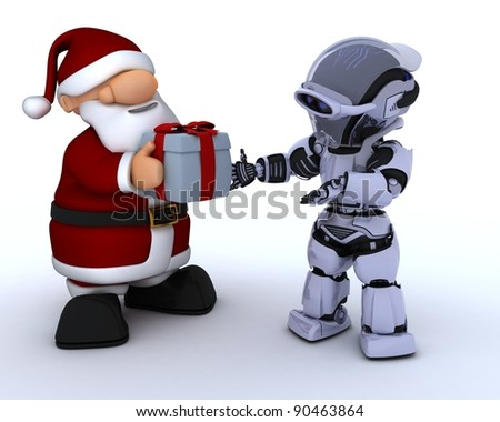 3D render of a robot and santa claus