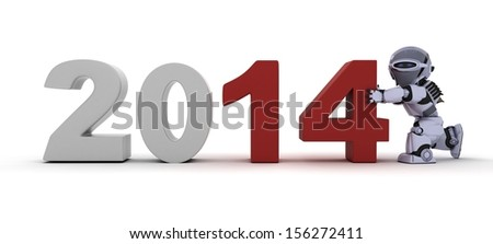 3D render of a Robot bringing in the new year - stock photo