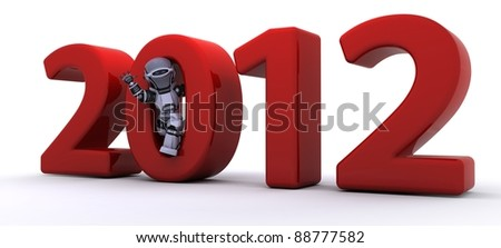 3D render of a Robot Bringing the new year in - stock photo
