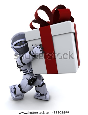 3D render of a robot carrying christmas gift box with bow - stock photo