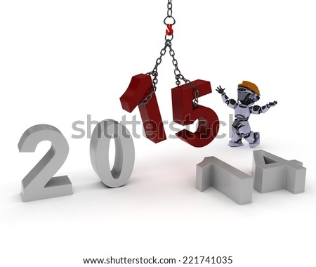 3D Render of a Robot celebrating new years - stock photo