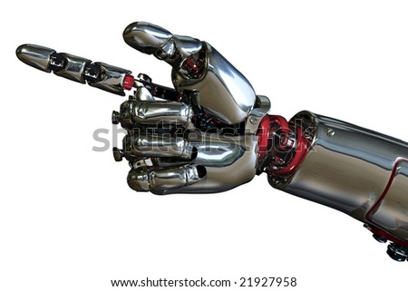 3D render of a robot hand pointing. - stock photo