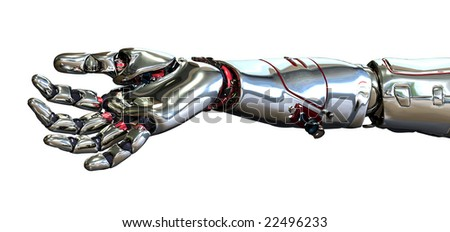 3D render of a robot hand, positioned as if it is holding an object. - stock photo