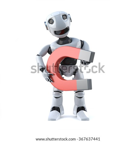 3d render of a robot holding a big magnet.