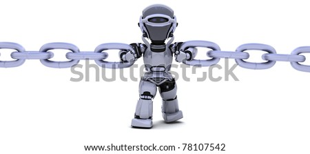 3D render of a robot holding a chain - stock photo