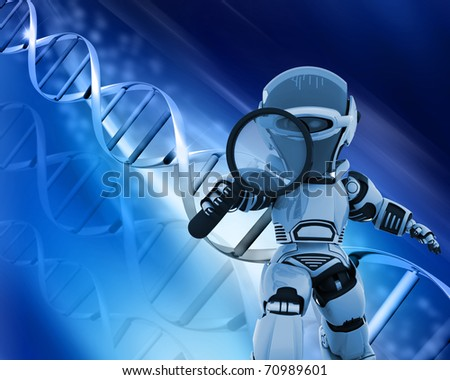 3D render of a robot holding a magnifying glass on a DNA background - stock photo
