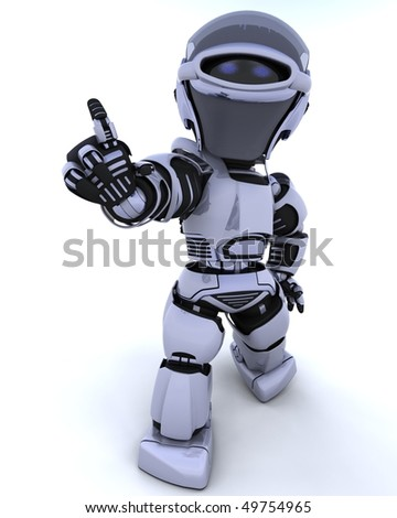 3D render of a robot introducing or presenting - stock photo