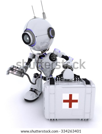 3D Render of a Robot paramedic with first aid kit